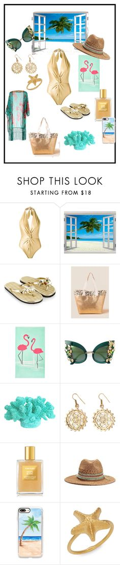 """Going to beach☀️"" by ipekzsuel on Polyvore featuring Martha Medeiros, Monsoon, Francesca's, John Lewis, Dolce&Gabbana, Urbiana, Tom Ford, Casetify and Valentino"
