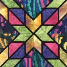 Stained Glass Liberty Star Quilt Block Pattern