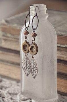 earthy boho leaf earrings. by bellehibou on Etsy