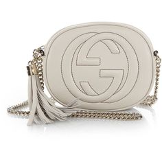 Gucci Soho Leather Mini Chain Bag (5.570 DKK) ❤ liked on Polyvore featuring bags, handbags, shoulder bags, apparel & accessories, mystic white, leather purses, leather shoulder bag, white leather purse, chain shoulder bag and white handbags