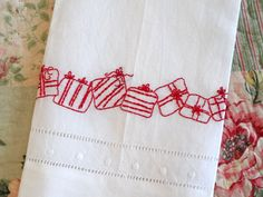 Redwork Hand Embroidery Christmas Gifts Tea Towel
