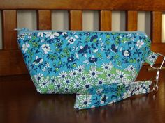 Wristlet clutch turquoise green white floral with by Tarapy, $15.00
