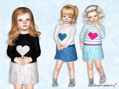 Glitter heart dress by CherryBerrySim - Sims 3 Downloads CC Caboodle