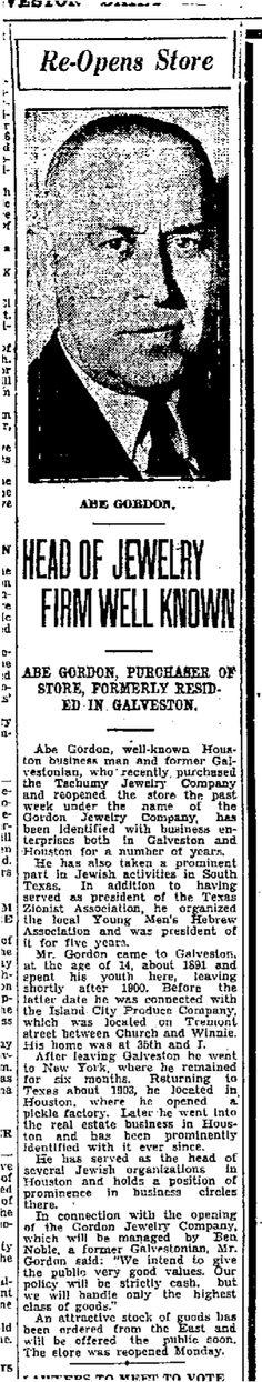 Abe Gordon page 11 of: Galveston Daily News March 6, 1932