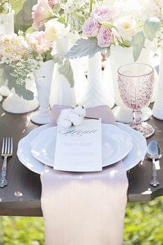 table decor and place setting inspiration for wedding reception #pastelflorals #weddingreception #weddingchicks http://www.weddingchicks.com/2014/01/27/pastel-sheep-wedding-inspiration