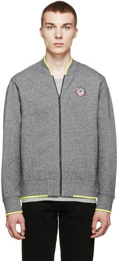 Kenzo Grey Marled Tiger Zip-Up Sweatshirt
