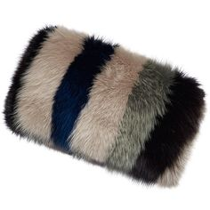 Marni Striped Fox Fur Banded Stole (€2.645) ❤ liked on Polyvore featuring accessories, scarves, marni, multi colored scarves, fox fur scarves, striped scarves and colorful scarves
