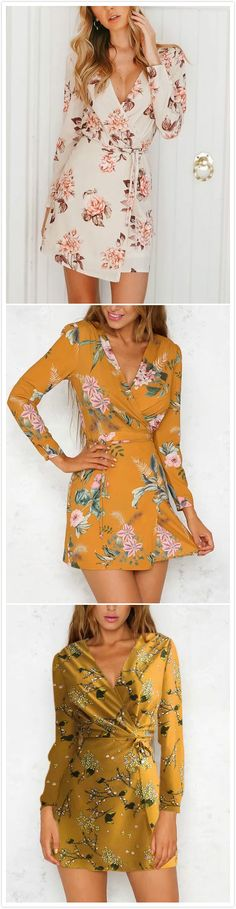 Beige Wrap Front V-neck Floral Print Mini Dress