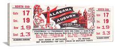 Alabama football tickets! The best vintage Alabama football tickets are at http://www.shop.47straightposters.com/