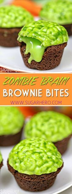 """Brain Brownie Bites Zombie Brain Brownie Bites are bite-sized brownies, topped with a bright green zombie brain that oozes green chocolate """"slime! Halloween Zombie, Bolo Halloween, Creepy Halloween Food, Hallowen Food, Halloween Food For Party, Happy Halloween, Zombie Zombie, Halloween 2018, Halloween Stuff"""