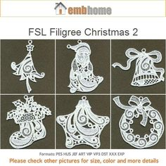 FSL Filigree Christmas 2 Holidays Free Standing Lace by embhome Border Embroidery, Free Machine Embroidery, Embroidery Patterns, Hand Embroidery, Freestanding Lace Embroidery, Embroidered Gifts, Christmas Embroidery, Lace Design, Design Crafts