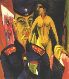 """Ernst Ludwig Kirchner (1880-1938)   Zelfportret als soldaat   Ernst Ludwig Kirchner, 1915   Kirchner, door velen gezien als één der belangrijkste vertegenwoordigers van de Duitse expressionisten, stond samen met zielsverwanten zoals Erich Heckel (1883-1970), Fritz Bleyl (1880-1966) en Karl Schmidt-Rottluff (1884-1976) aan de wieg van de avant-gardistische groep """"Die Brucke"""". Later traden onder andere ook Emil Nolde, de Duitse expressionist Max Pechstein (1881-1955) en de Nederlandse…"""