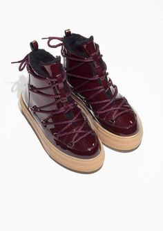 e79e9bd65d5ac1 Other Stories image 2 of Patent Leather Snow Boots in Burgundy Boogie Shoes