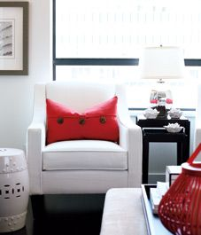 Love the pop of colour in this small space. #colourpalette http://www.aftershocksinteriordecorating.com