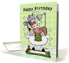 Happy Birthday-Horse Showered with Love card