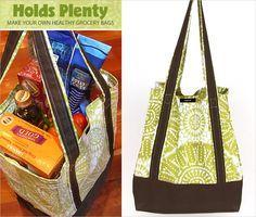 Make Your Own Reusable Grocery Bags Bag Pattern Free, Tote Pattern, Bag Patterns, Sewing Patterns, Reusable Shopping Bags, Reusable Bags, Diy Tote Bag, Tote Bags, Diy Bags