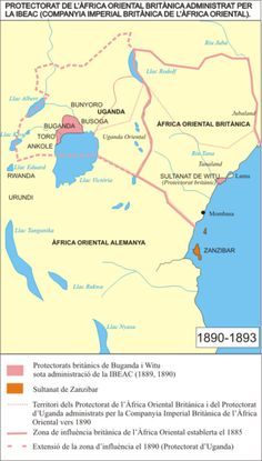 English: Map of British East Africa 1890-1893