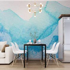 Blue Aquarelle Watercolor Wallpaper - 75W x 48H / Canvas