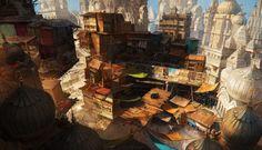 Ind slums, Olga Orlova on ArtStation at https://www.artstation.com/artwork/ind-slums