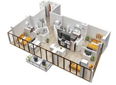Apartment living doesn't have to mean giving up the idea of an open floor plan. This apartment has private bedrooms but the kitchen, living room, and dining areas are all allowed to flow together for a very modern feel.