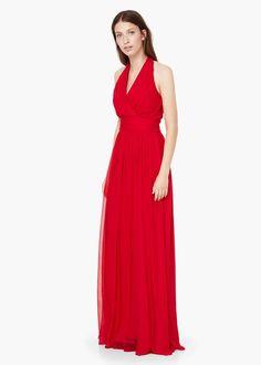 Drapeli uzun elbise - Elbise - Kadın | MANGO