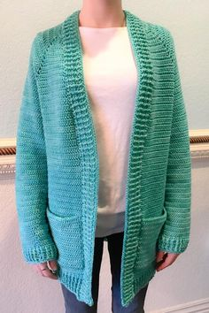 "Ravelry: The Montana Cardigan pattern by Breon ""Brechelle"" Lauber Cotton Crochet Patterns, Crochet Cardigan Pattern, Knit Cardigan, Crochet Tops, Crochet Woman, Tunisian Crochet, Yarn Needle, Stitch Markers, Boutique"