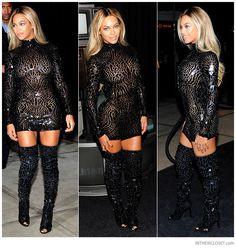 Beyoncé Knowles wearing black Tom Ford Crystal Mosaic Thigh-High Peep-Toe Boots