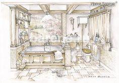Эскизы интерьеров Ирены Барене Bathrooms, Illustrations, House, Painting, Ideas, Art, Chalets, Architecture, Art Background