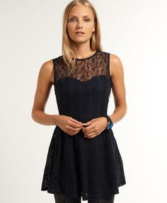New Womens Superdry Sweetheart Lace Dress Eclipse Navy DWD