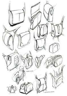 product design sketching, sketches, soft goods sketching, bag design