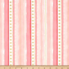Michael Miller Sarah Jane Magic Metallic Stars and Stripes Pink from @fabricdotcom  Designed by Sarah Jane for Michael Miller Fabrics, this whimsical collection is perfect for quilting, home decor accents and apparel. Colors include shades of pink, coral, and white with gold metallic accents.