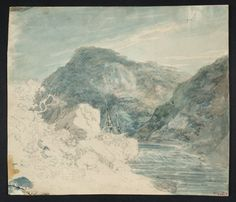 Joseph Mallord William Turner 'A Sailing Ship on a River between Rocky Cliffs',  - From Drawings and Watercolours Connected with the Welsh and Marches Tours  -  ?1792–3  -  Graphite and watercolour on paper -  Dimensions Support: 215 x 248 mm -  Collection -  Tate