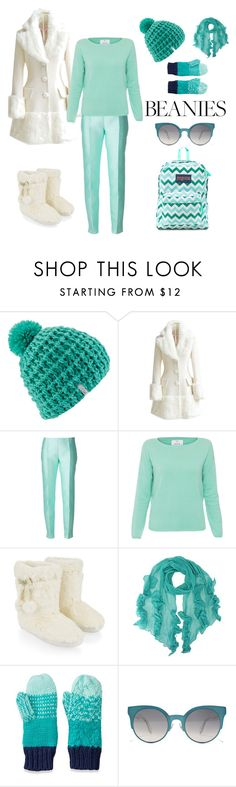 """""""Aqua And White Beanie Outfit"""" by siriusfunbysheila1954 ❤ liked on Polyvore featuring Coal, WithChic, Antonio Berardi, Allude, Accessorize, SO, Fendi and JanSport"""
