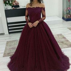 long prom dresses - 2018 Cheap Quinceanera Ball Gown Dresses Burgundy Off Shoulder Lace Applique Long Sleeves Tulle Puffy Party Plus Size Prom Evening Gowns Quinceanera Cheap Dresses Quinceanera Dama Dresses Cheap From Crystalxubridal, &Price; DHgate Com Tulle Ball Gown, Ball Gowns Prom, Tulle Prom Dress, Ball Gown Dresses, Homecoming Dresses, Tulle Lace, Lace Dress, Dresses For Balls, Amazon Prom Dresses