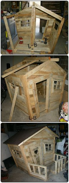 Wooden Pallet Projects Complete hut with terrace for my kids and made entirely from reclaimed wooden pallets. Thanks to my husband :) - Complete hut with terrace for my kids and made entirely from reclaimed wooden pallets. Thanks to my husband :) Pallet Crafts, Diy Pallet Projects, Projects For Kids, Wood Crafts, Wood Projects, Woodworking Projects, Diy Crafts, Woodworking Wood, Furniture Projects