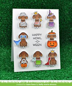 the Lawn Fawn blog: Lawn Fawn Intro: Happy Howloween,  - Watch the video on how Kelly colors these cute pups.  Around 4 minutes into the video she mixes and matches the costumes.