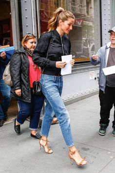 April 28 2016  #GiseleBundchen wearing  #TbyAlexanderWang Classic Bomber Jacket n  #AlexandreBirman Clarita Sandals #NYC from @giselebundchen_dailyoutfit's closet #tbyalexanderwang