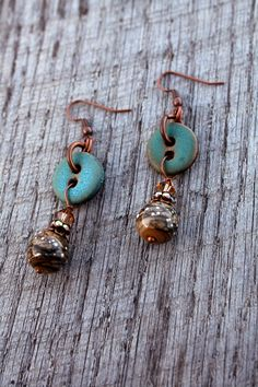 First Frost Earrings - Handmade Button Lampwork Ceramic Jewelry Swarovski Tan Blue Turquoise...