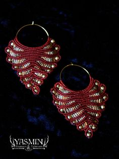 Sunspear and Moonshadow, micro macrame super earrings, red and gold, tribal, gypsy, magic via Etsy