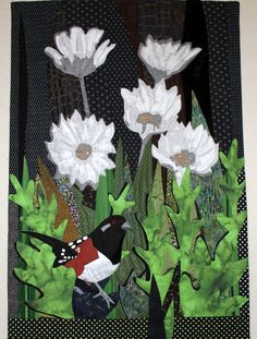 """""""Towhee in my Garden"""", 25"""" x 37"""", by Sandra Poteet.  Mountain Art Quilters challenge quilt, 2013."""