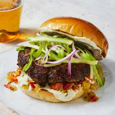 Rachael Ray makes some of the best burgers around, and this one doesn't disappoint! Entree Recipes, Burger Recipes, Sauce Recipes, Lamb Recipes, Shrimp Corn Chowder, Lamb Pasta, Pickled Tomatoes, Burger Seasoning, Lamb Burgers