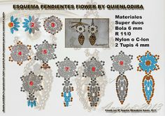 Quienlodira Creaciones: Esquema Pendientes Flower By Quienlodira.