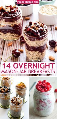 EASY OVERNIGHT MASON-JAR BREAKFASTS: Sure, mason-jars are the best for cute crafts and home decor, but they're also super functional, just look here! Whip up these easy breakfast ideas like Cherry Chia Overnight Oats, Healthy Breakfast Bread Pudding, and so much more, with these simple recipes! They're delicious, healthy, and perfect for busy schedules—just prep ahead the night before, and grab and go in the morning. This is healthy and delicious eating made easy!