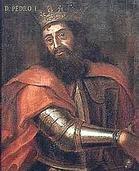 Pedro I (1320 - 1367). King of Portugal from 1357 to his death in 1367. He married three times and had children. He had his third wife, Ines de Castro, crowned queen after her death and forced the court to kiss her hand and swear to honor her.