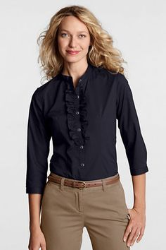 Women's 3/4-sleeve No Iron Stretch Ruffle Front Shirt from Lands' End
