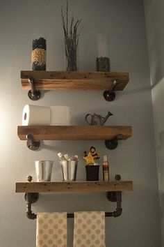 Reclaimed Barn Wood Bathroom Shelves Thanks for looking at this creation! Reclaimed barn wood bathroom shelves made out of salvaged lumber from a Saline Michigan Barn Wood Bathroom, Bathroom Wood Shelves, Rustic Bathroom Decor, Glass Shelves, Pallet Bathroom, Industrial Bathroom, Rustic Salon Decor, Pirate Bathroom, Industrial Wallpaper