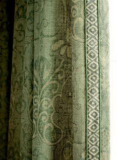Studio 534 fabric- similar to my green curtains Drapery Panels, Curtains With Blinds, Green Curtains, Valances, Drapery Designs, Drapery Ideas, Curtain Ideas, Custom Window Treatments, Passementerie