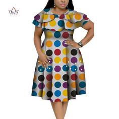 New Bazin Riche African Ruffles Collar Dresses for Women Dashiki Print Pearls Dresses Vestidos Women African Clothing - favorite products African Dresses Plus Size, Short African Dresses, African Print Dresses, African Print Fashion, African Clothes, Africa Fashion, African Prints, African Fabric, Short Dresses