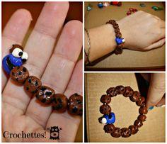 Monstruo de las Galletas, pulsera.  Cookie Monster, bracelete  Polymer clay, fimo