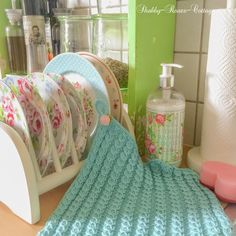 Shabby-Roses-Cottage: Pretty knitted dishcloth